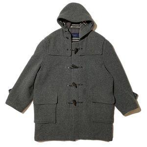 Burberry Men's Duffle Wool Toggle Gray Pea Coat